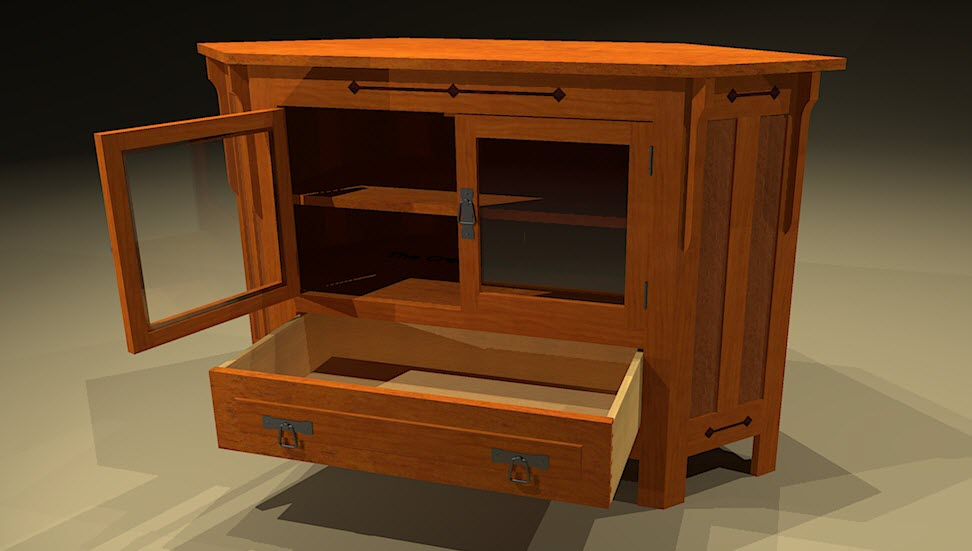 Creekside woodshop sketchup drawings for Mission style corner hutch