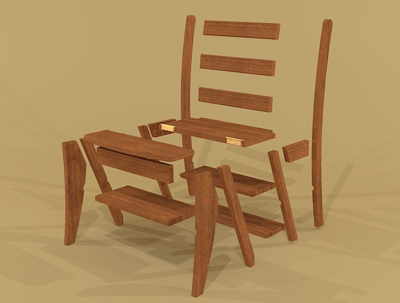 Creekside Woodshop SketchUp Drawings : Library20Chair render 02 from creeksidewoodshop.com size 794 x 601 jpeg 51kB